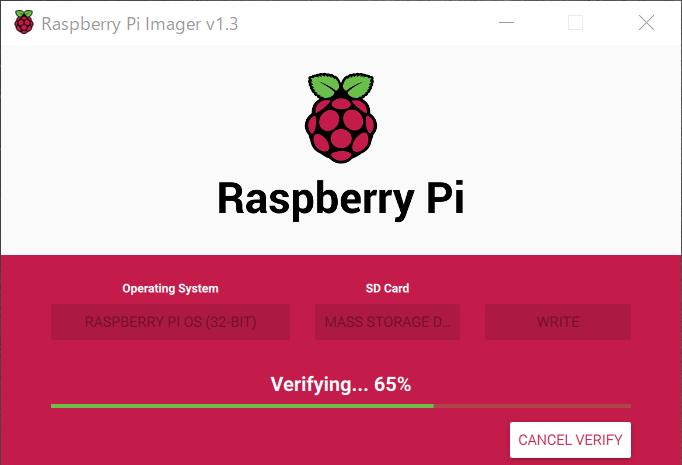 Raspberry Pi imager 書き込みチェック