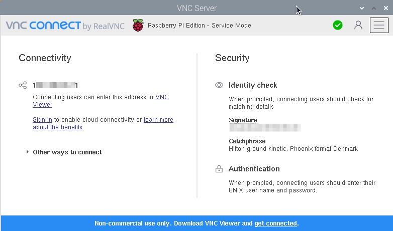Raspberry Pi(ラズパイ)の VNCのIPアドレス