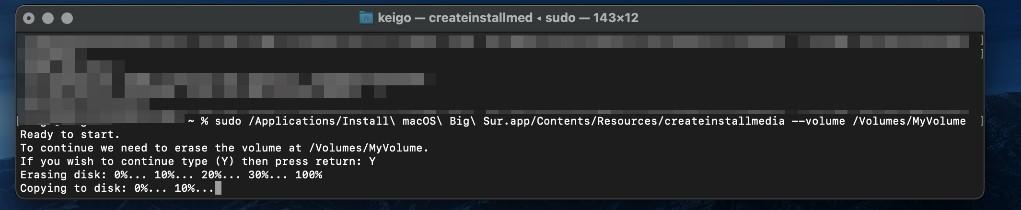 macOSの起動可能なインストーラ作成